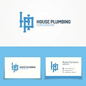 Plumbing service icon set with pipelines