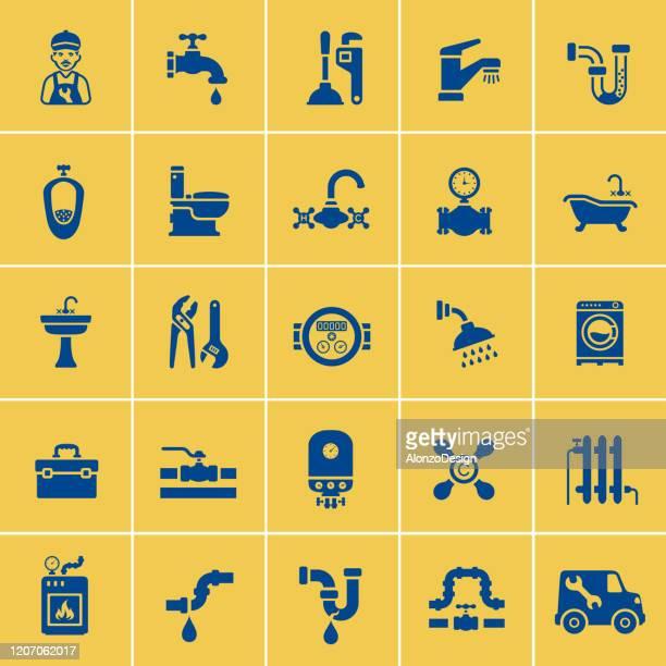 illustrations, cliparts, dessins animés et icônes de graphismes de service de plomberie - cuvette des toilettes