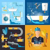 Plumbing service set. Professional plumber