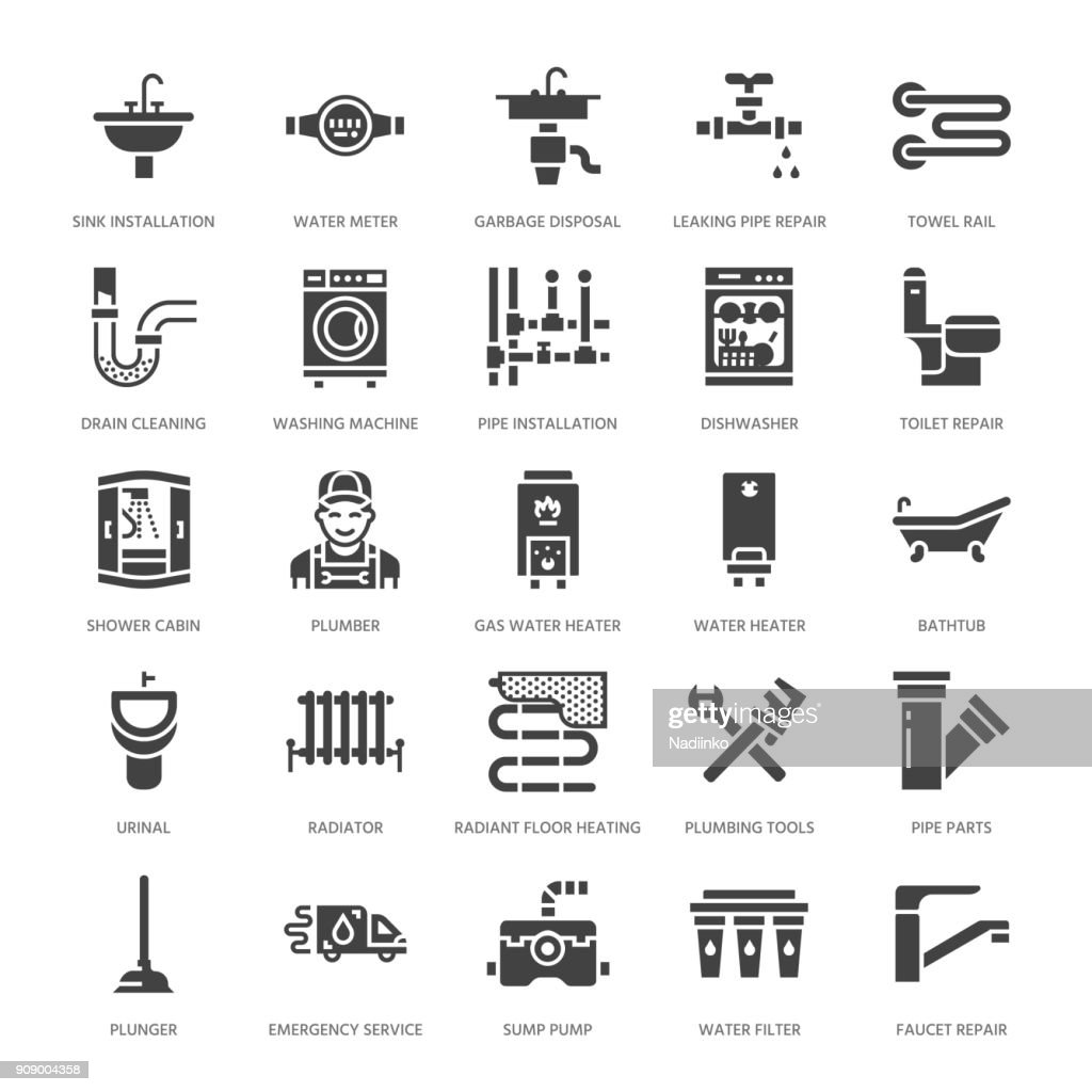 Plumbing service vector flat glyph icons. House bathroom equipment, faucet, toilet, pipeline, washing machine, dishwasher. Plumber repair illustration, solid signs for handyman services