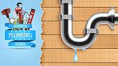 Plumbing service with repair tools