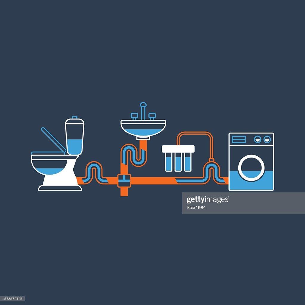 Plumbing services, pipes arrangement, tubes