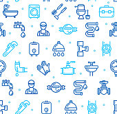 Plumbing Signs Seamless Pattern Background on a White. Vector