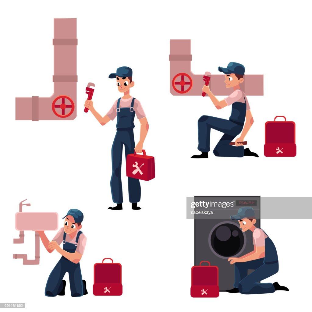 Plumbing specialist at work, repairing sewage pipes, sink, washing machine