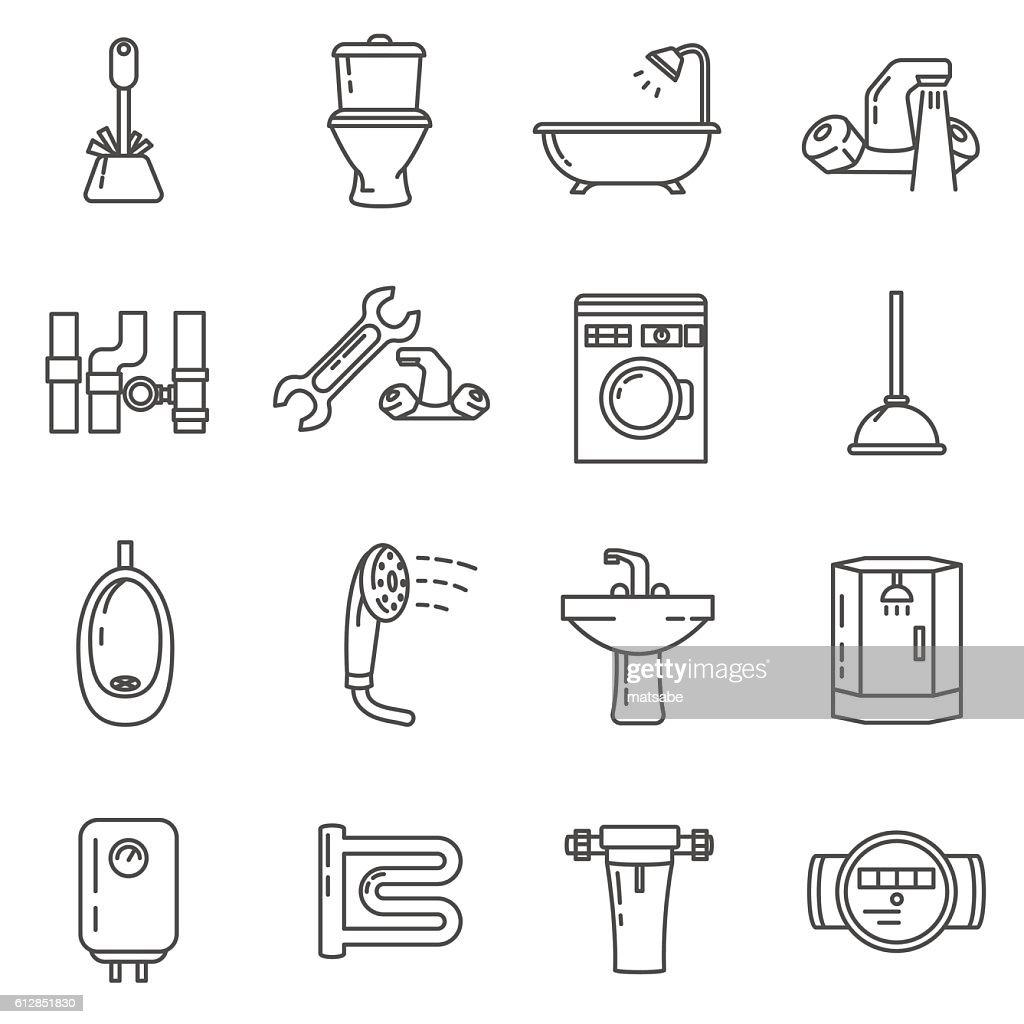 plumbing thin line icons set. bathroom and toilet
