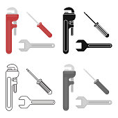 Plumbing tooles icon in cartoon style isolated on white background. Plumbing symbol stock vector illustration.