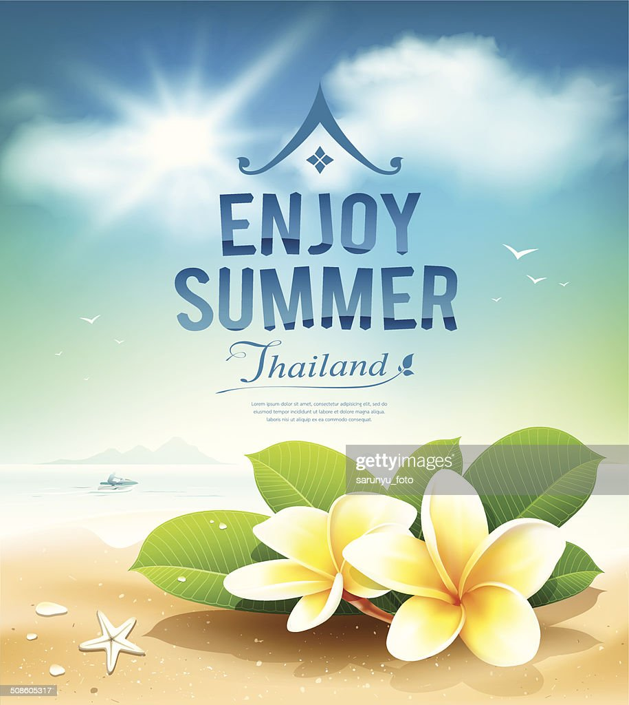 Flores de Plumeria verano, disfrute de una tarjeta de felicitación : Arte vectorial