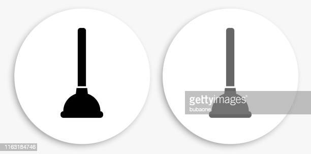 plunger black and white round icon - plunger stock illustrations, clip art, cartoons, & icons