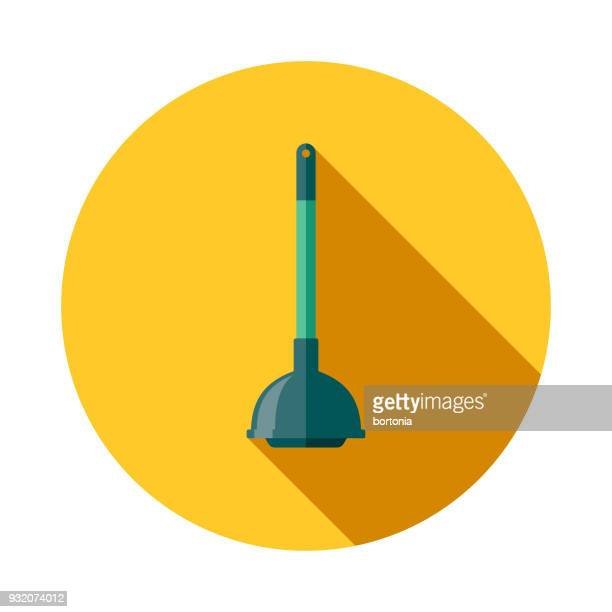 plunger flat design cleaning icon with side shadow - plunger stock illustrations, clip art, cartoons, & icons