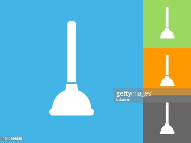 plunger  flat icon on blue background - plunger stock illustrations, clip art, cartoons, & icons