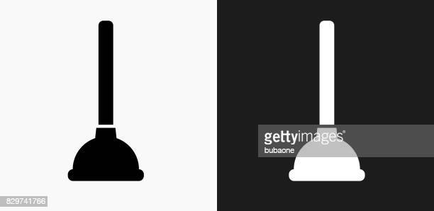 plunger icon on black and white vector backgrounds - plunger stock illustrations, clip art, cartoons, & icons