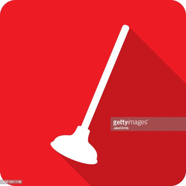 plunger icon silhouette - plunger stock illustrations, clip art, cartoons, & icons