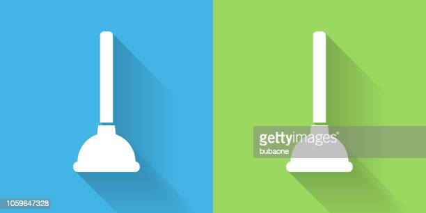 plunger icon with long shadow - plunger stock illustrations, clip art, cartoons, & icons