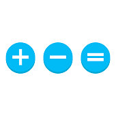 Plus and minus and  equally icons. vector illustration