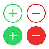 Plus and Minus Icon Flat Design on White Background.