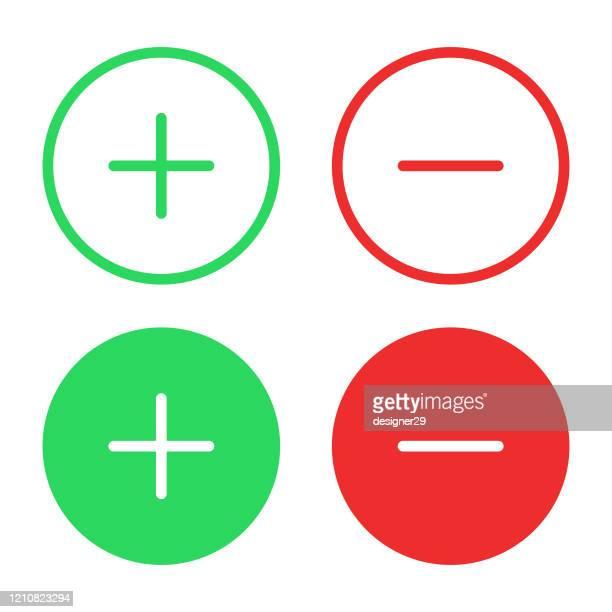 illustrazioni stock, clip art, cartoni animati e icone di tendenza di icona più e meno design piatto su sfondo bianco. - emozione positiva