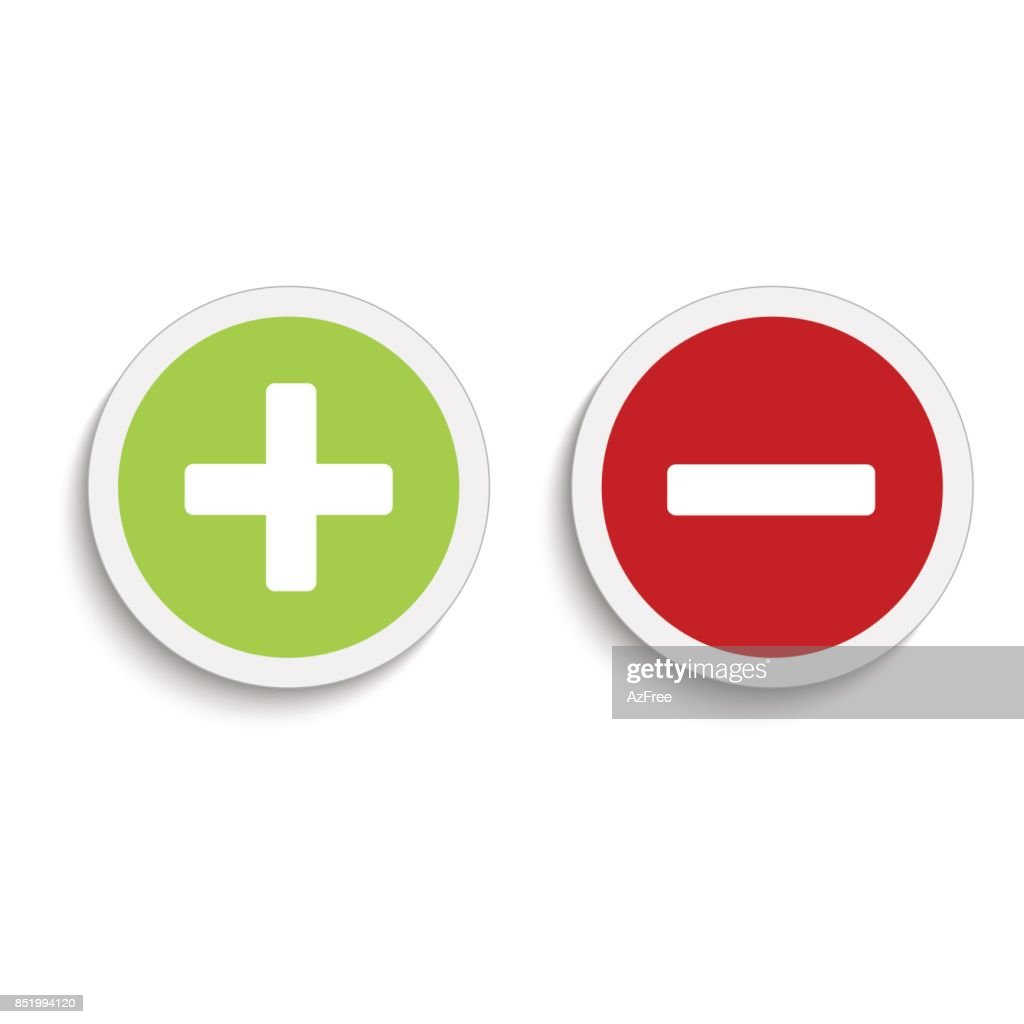 Plus and minus round icons with soft shadow on the white background. Vector illustration.