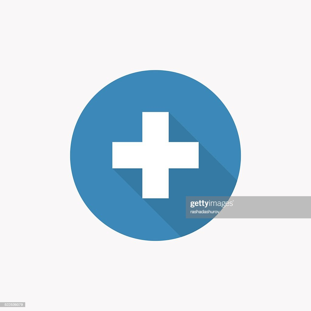plus Flat Blue Simple Icon with long shadow