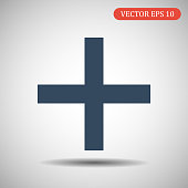 Plus flat icon.Vector illustration in flat style. EPS 10