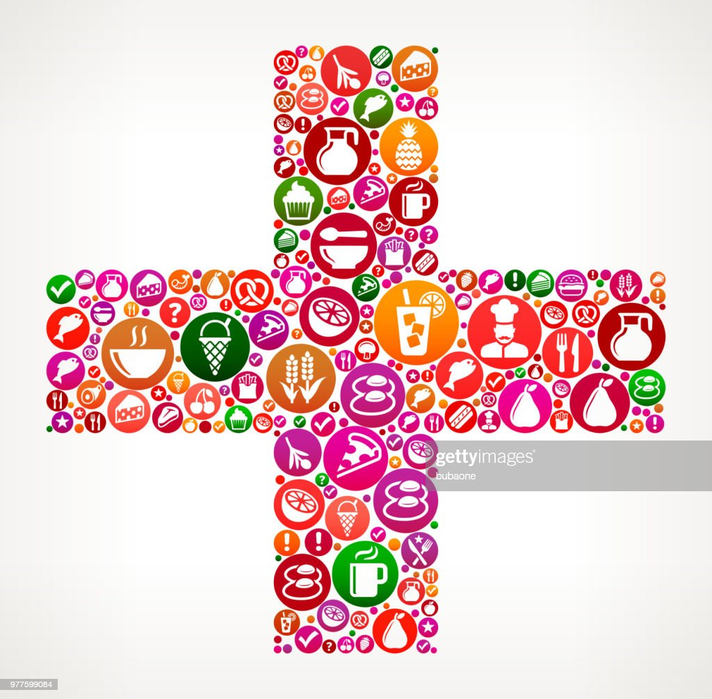 Plus Food and Diet Vector Icon Background