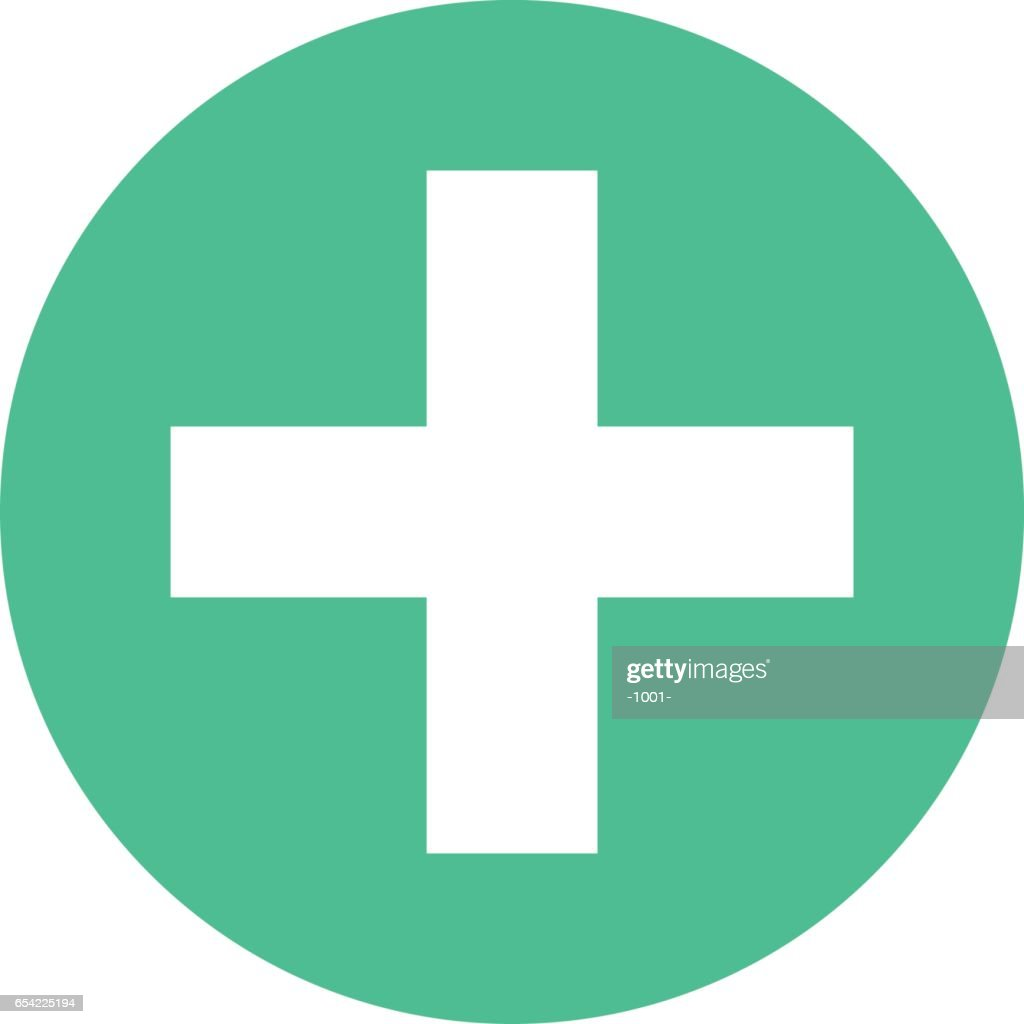 Plus icon addition circle sign button flat style