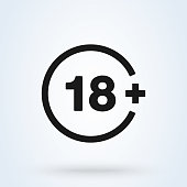 18 plus icon in trendy flat style isolated on background. vector 18 plus