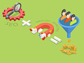 SEO plus inbound marketing flat isometric vector.