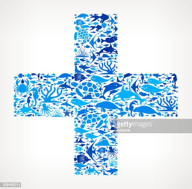 plus Ocean Marine Life Blue Icon Pattern