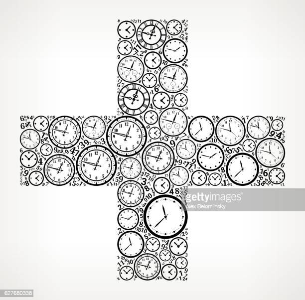 Plus on Time and Clock Vector Icon Pattern