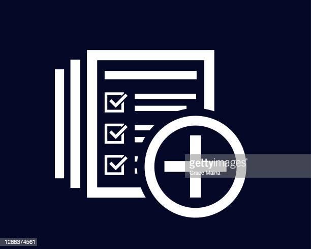ilustraciones, imágenes clip art, dibujos animados e iconos de stock de más o signo de adición con lista de documentos y marcas de verificación de marcas de verificación - charity benefit