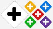 Plus Sign Color Diamond Vector Icon