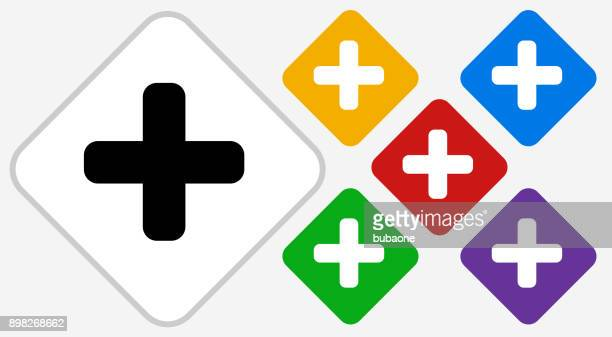 plus sign color diamond vector icon - plus sign stock illustrations, clip art, cartoons, & icons