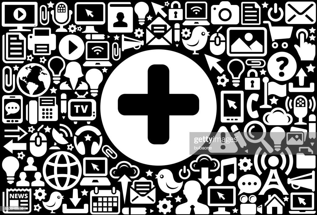 Plus Sign Icon Black And White Internet Technology Background Vector