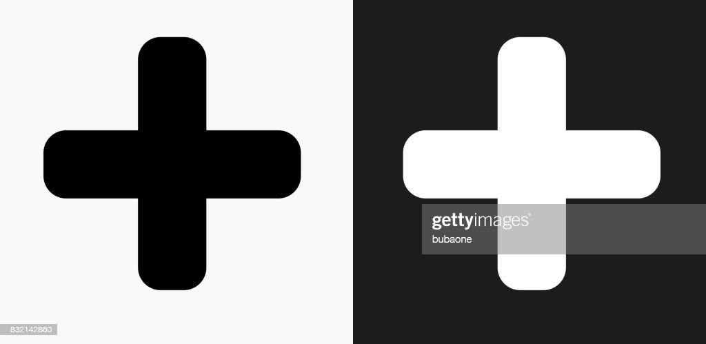 Plus Sign Icon on Black and White Vector Backgrounds