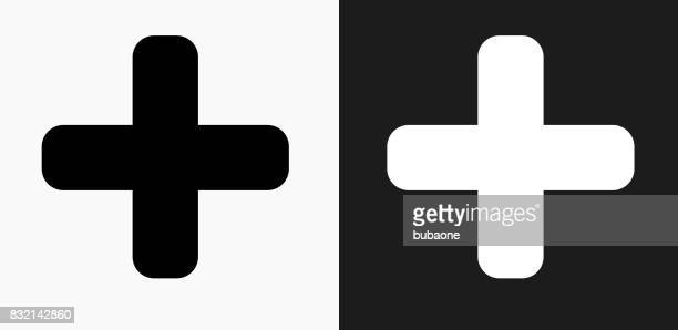 plus sign icon on black and white vector backgrounds - plus sign stock illustrations, clip art, cartoons, & icons