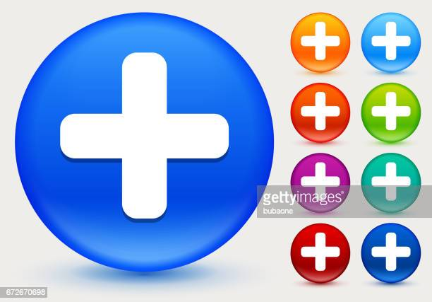 plus sign icon on shiny color circle buttons - plus sign stock illustrations, clip art, cartoons, & icons