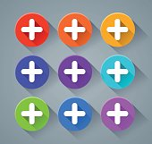 plus sign  icons with various colors