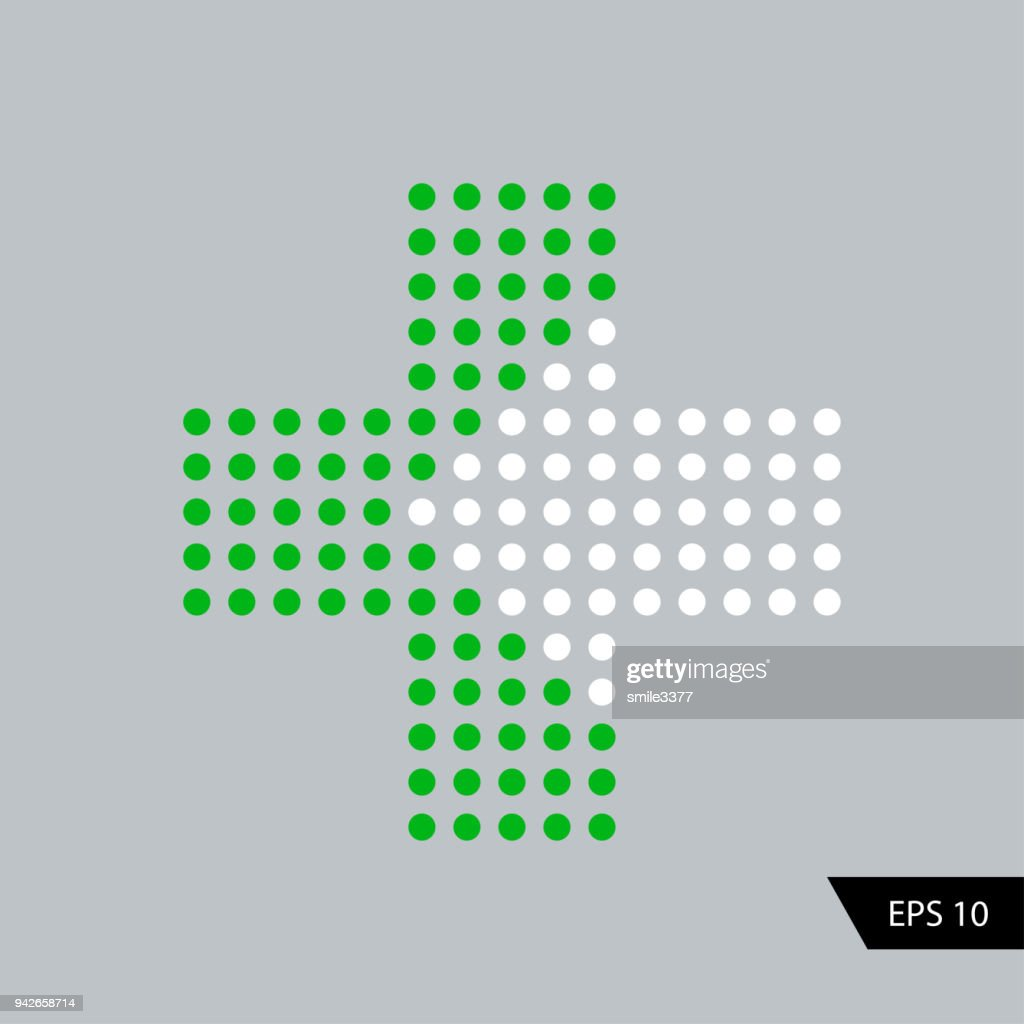 Plus with arrow in dots design. Green plus and white arrow.
