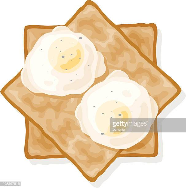poached eggs on toast - toast bread stock illustrations, clip art, cartoons, & icons