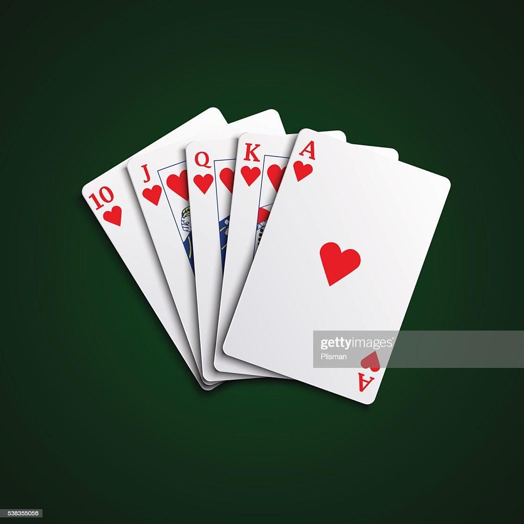 Pocker cards flush hearts hand