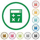 Pocket calculator flat icons with outlines