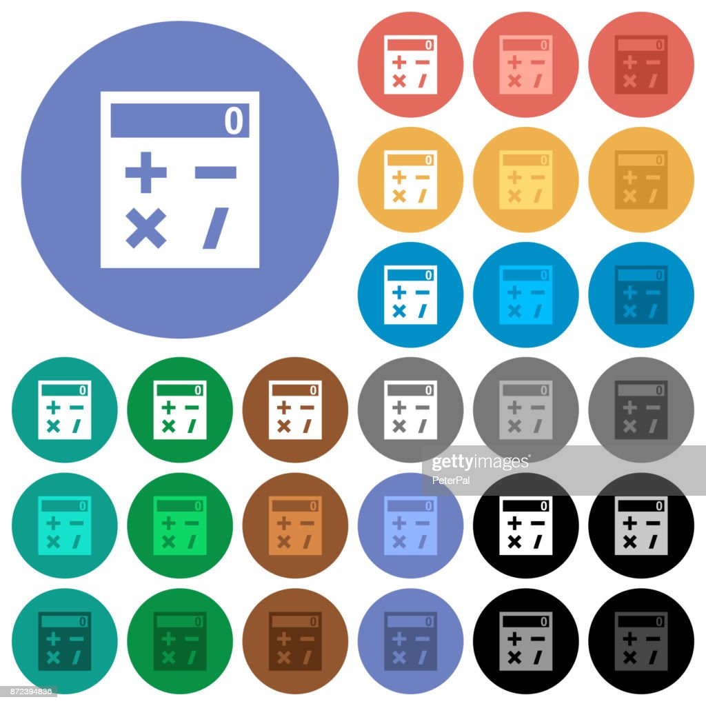 Pocket calculator round flat multi colored icons