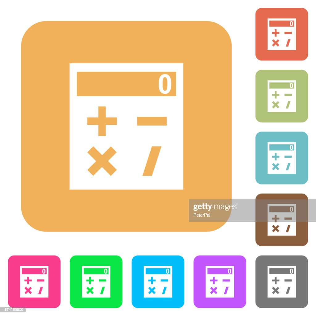 Pocket calculator rounded square flat icons