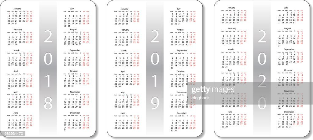 pocket calendar set 2018 2019 and 2020 years white vector design template