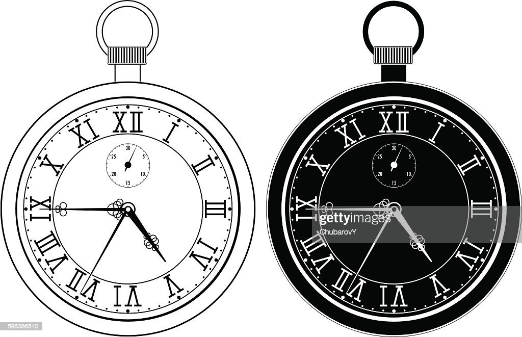 Pocket watch. Clock face with roman numerals
