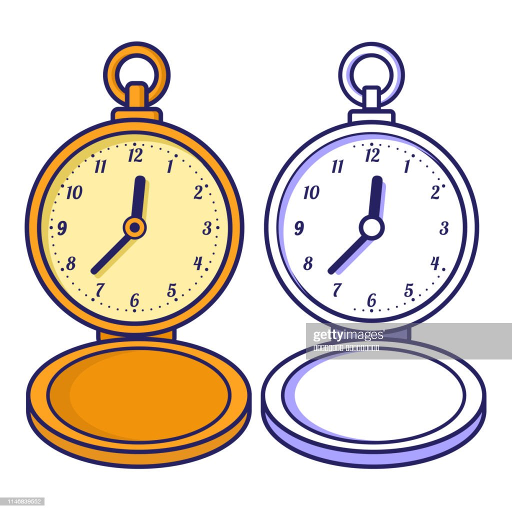 Pocket watch. Coloring book for children.