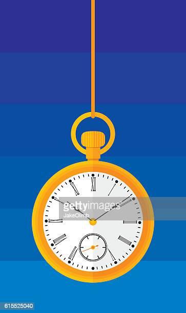 ilustraciones, imágenes clip art, dibujos animados e iconos de stock de pocket watch flat - reloj de bolsillo