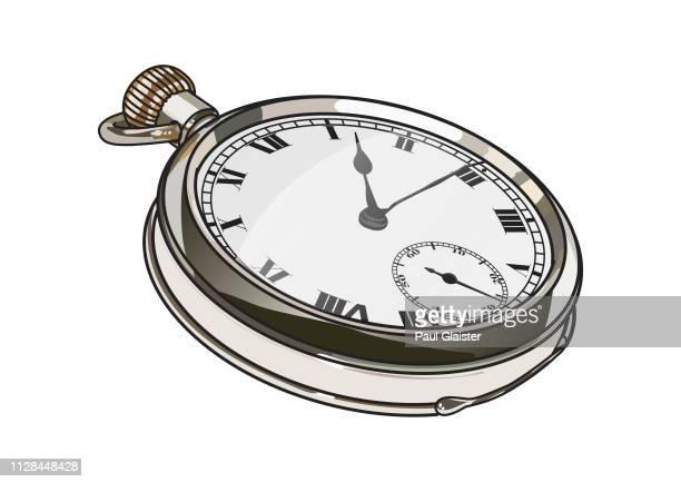 ilustraciones, imágenes clip art, dibujos animados e iconos de stock de reloj de bolsillo - ilustración - reloj de bolsillo
