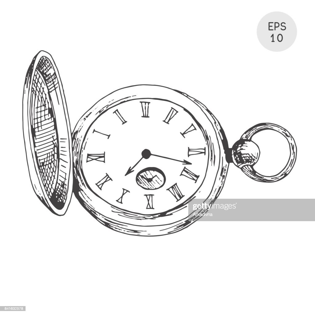 Pocket watch in retro style isolated on white background. Vector illustration in sketch style.