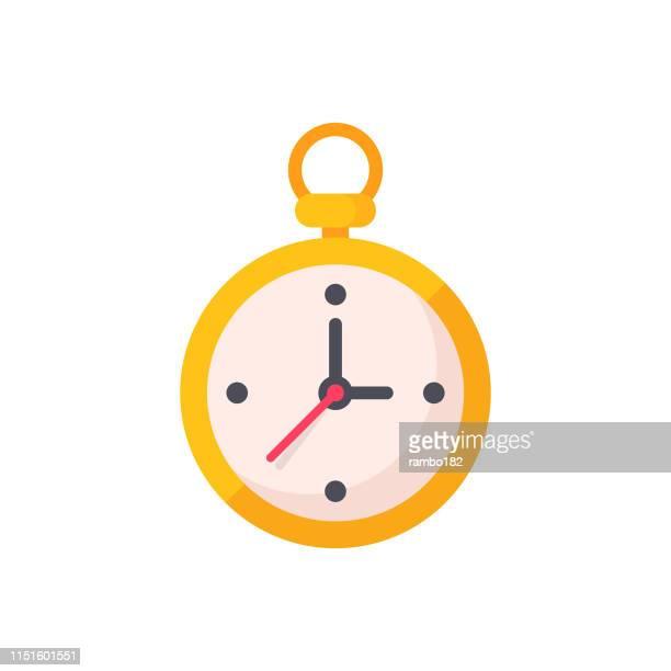 ilustraciones, imágenes clip art, dibujos animados e iconos de stock de reloj de bolsillo, tiempo, icono de reloj plano. pixel perfect. para móvil y web. - reloj de bolsillo